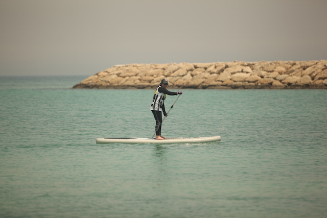 Participants take to the water off the coast of Kish Island in the Persian Gulf. Photo: I.R. Iran Surfing Association