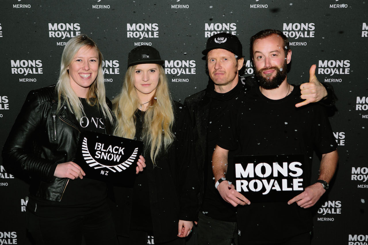 Mons Royale staff   Global training & Performance Lottie Haskall, Social Media & Content Coordinator Daisy Maddinson, Operations Manager Charlie Griffith & Snowboarder Mike Handford