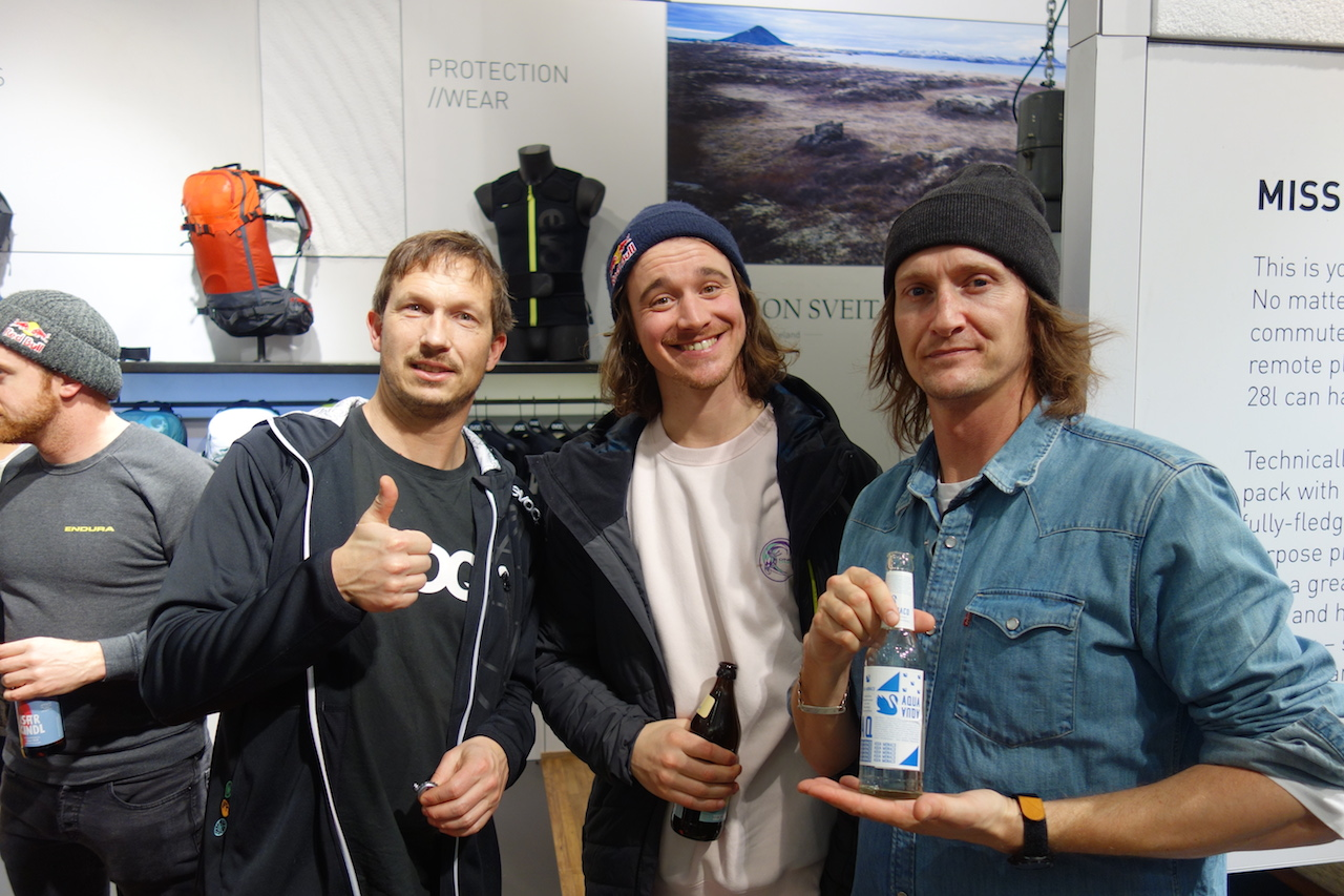 Evoc's legendary Jan with team rider Paddy Graham and UK Agent Sam