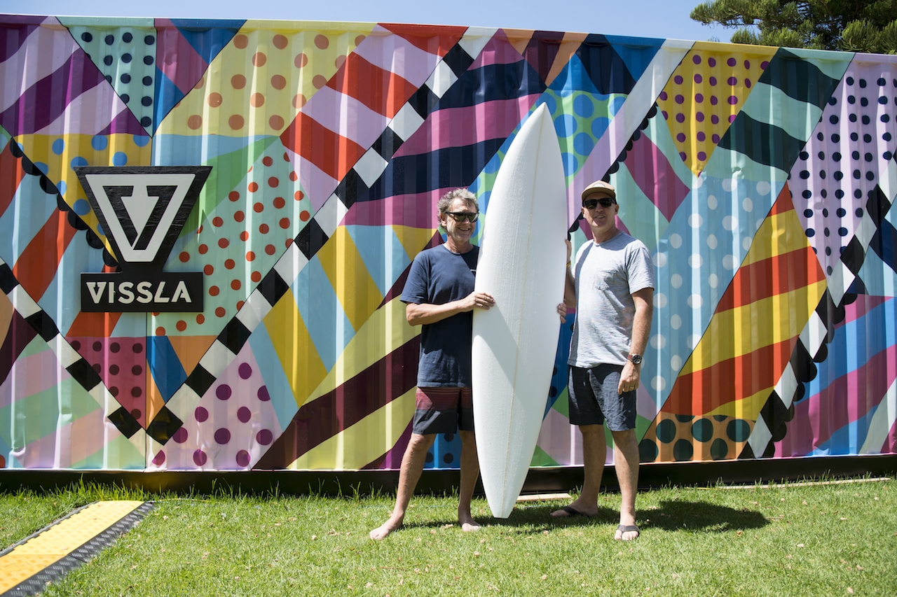 Derek O'Neill and legendary Australian surfer shaper Wayne Lynch at the Vissla Sydney Surf Pro in Manly Beach Australia