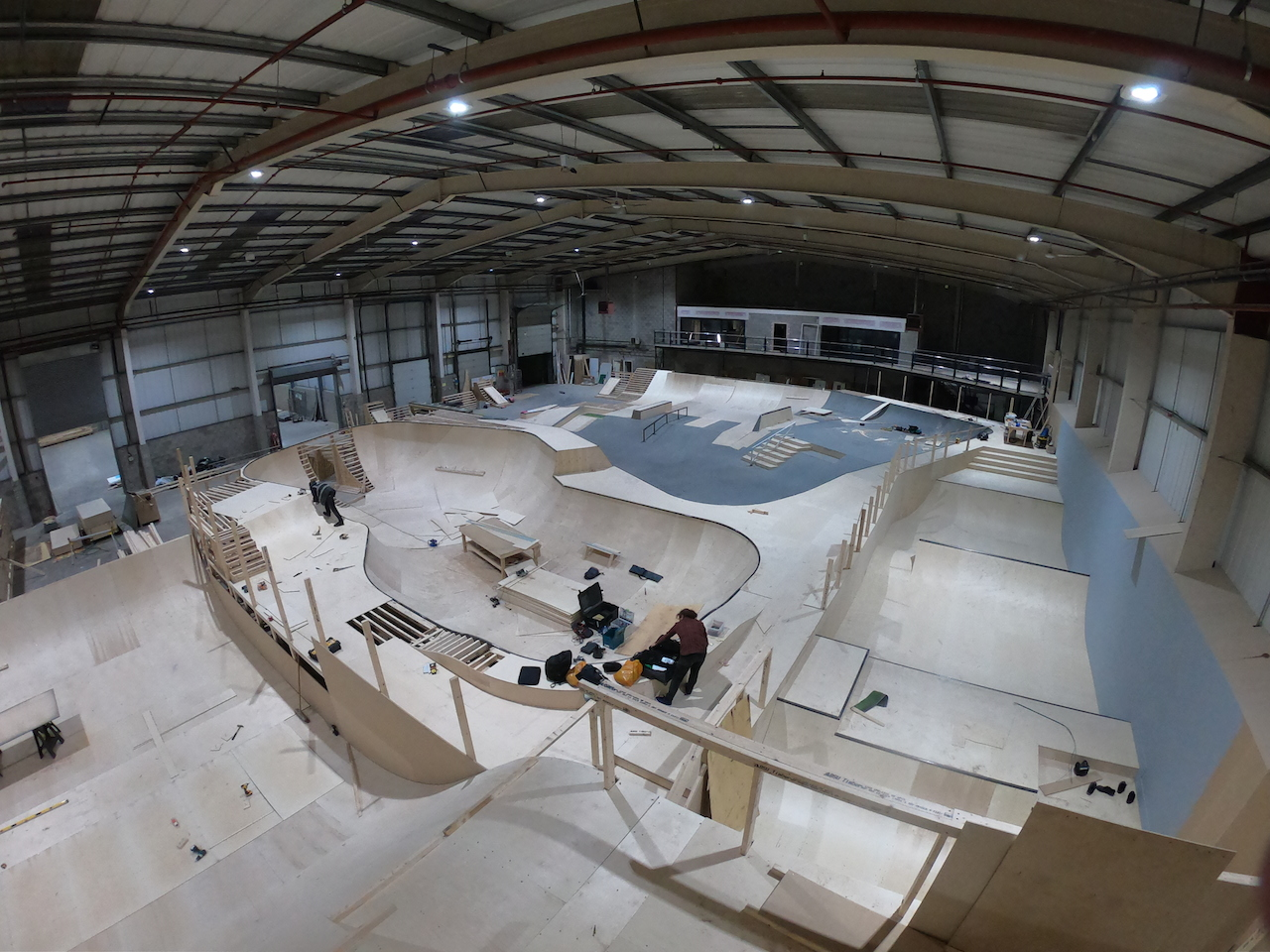 Graystone Manchester site under construction. Shot taken from atop the drop in for big air to foam pit. Photo Dave Thompson.