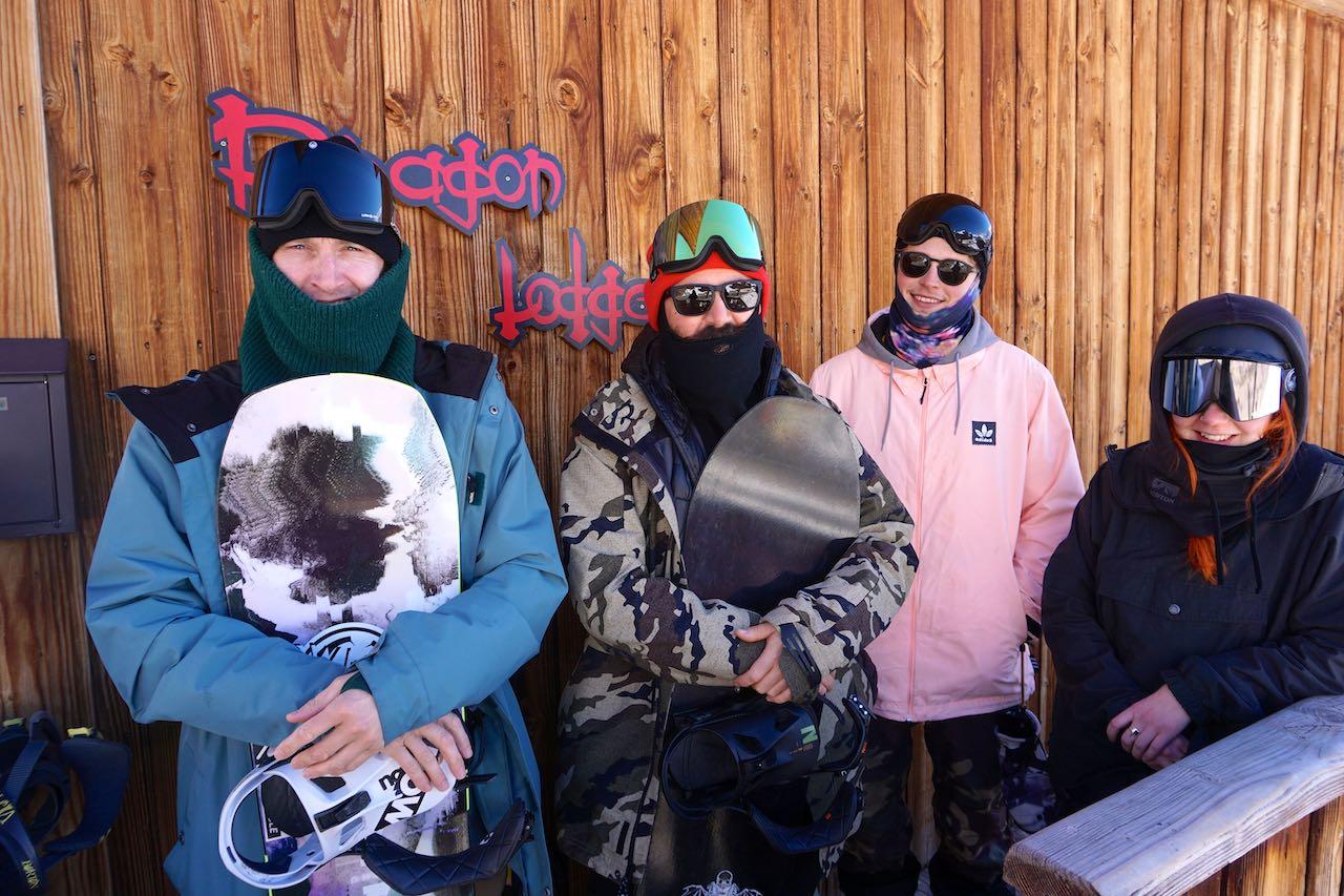 Dragon (Lodge) shred crew. Sam Nelson, John Bassett, Keiran Hammond & Sarah Martin