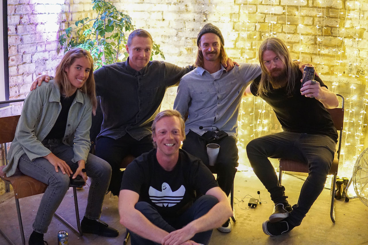 The panel. L R. Lee Ann Curren, Mickey Smith, Matt Barr (front), Nicolas Muller and Schoph