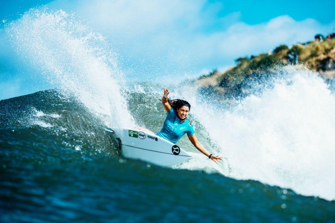 Malia Manuel (HAW) surfing Honolua Bay, where the lululemon Maui Pro will open on November 25, 2019.