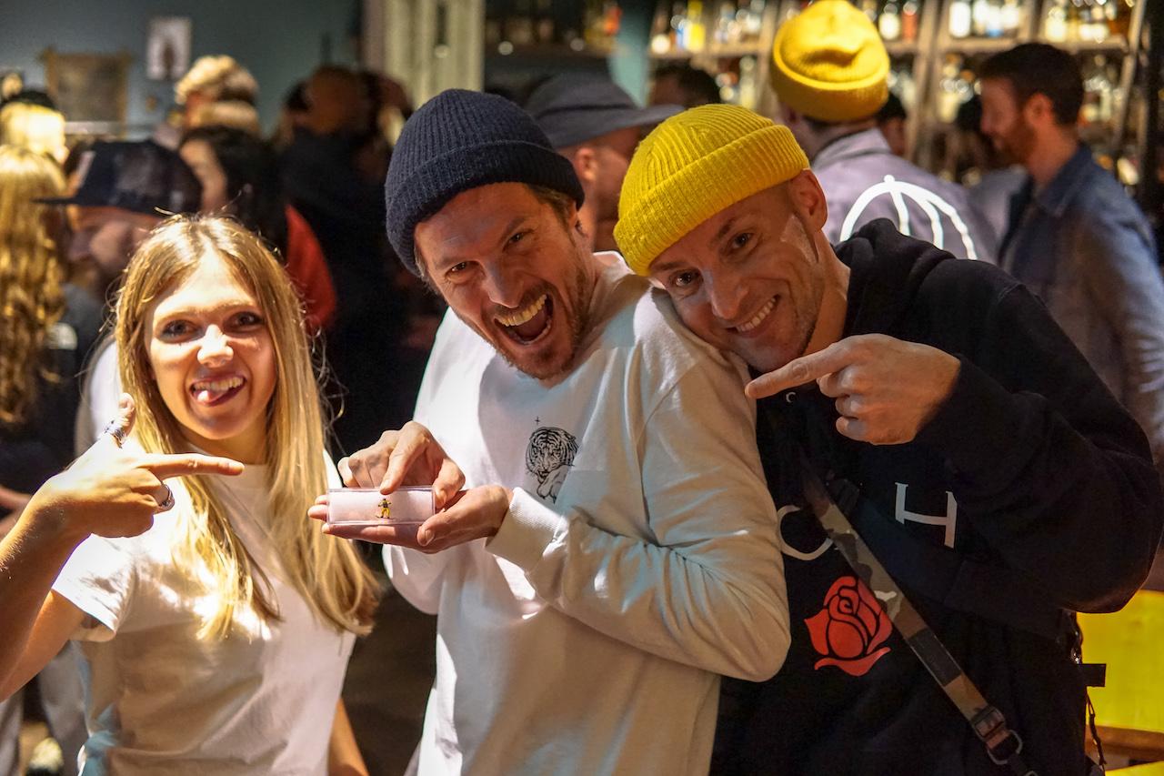 Volcom's UK PR Agent Lucy Stephens, Volcom's Edd Martin and sneakergrammer Nick Glackin (AKA @glackster) with a miniature Bryan Iguchi