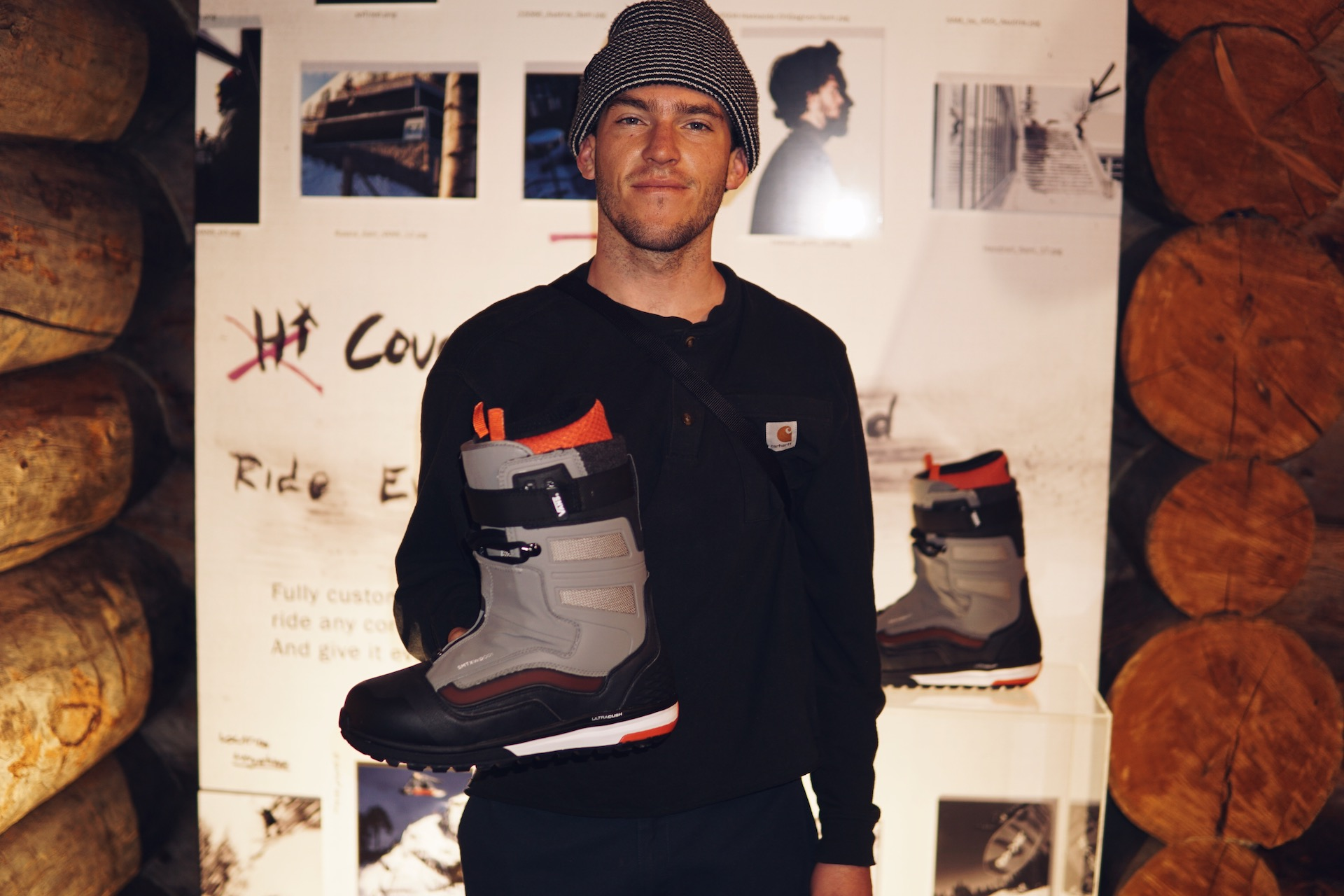 Sam Taxwood stoked on his first ever pro model boot.
