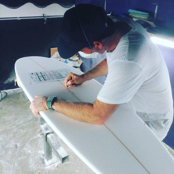 Luke Short, preparing some custom order for Ivo Nisa from 58 Surf in Peniche.