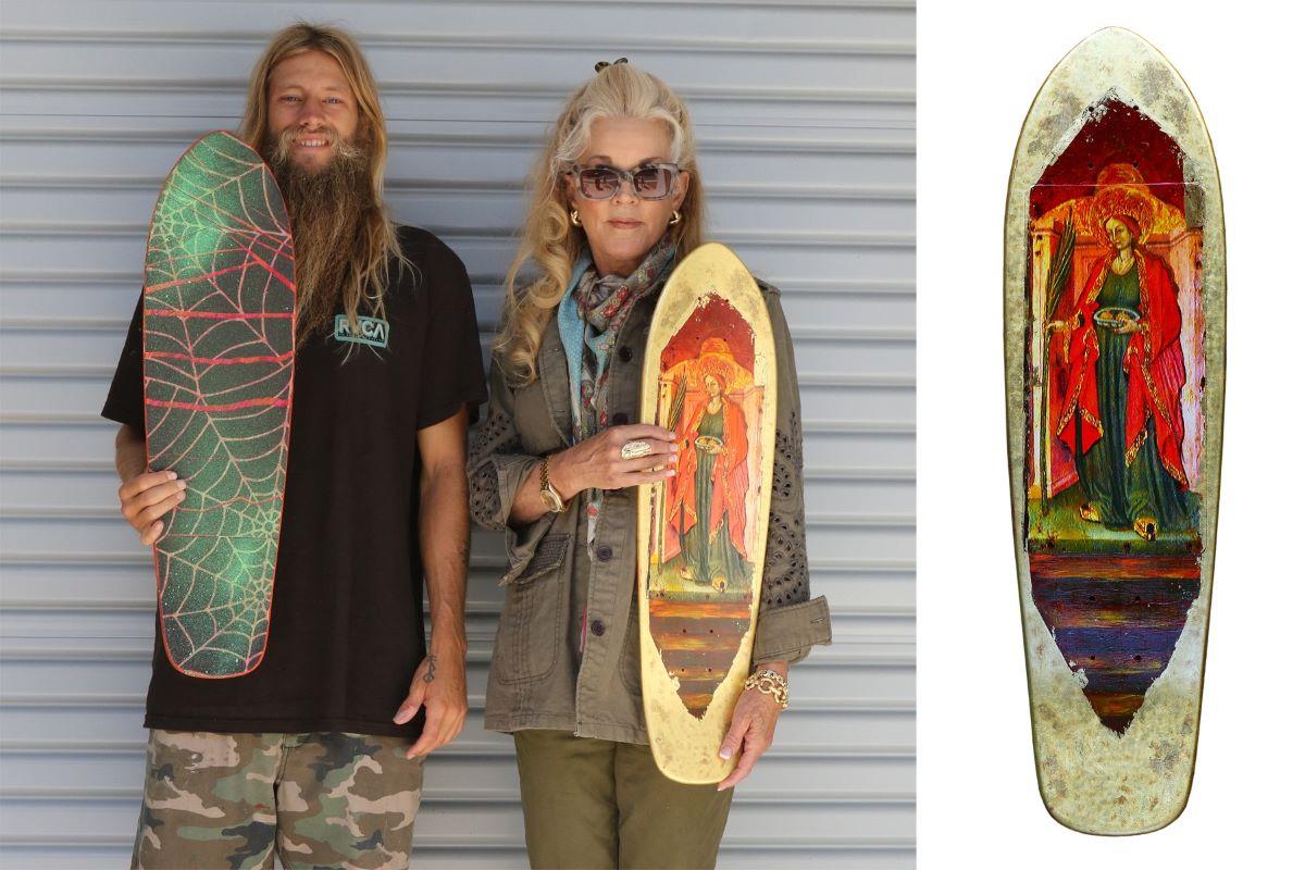 Greyson and Dibi Fletcher wth their skateboard art