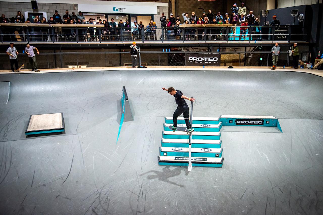 Graystone ambassador and Skateboard GB skater Alex Decunha at National Championships 2019. Photo Garry Jones.