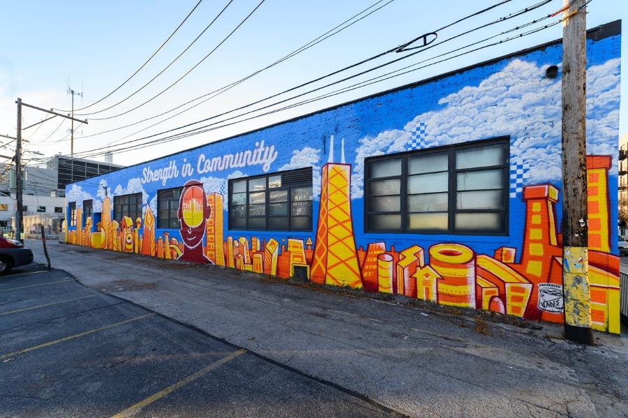 House of Vans Chicago mural by OJ Hays & Jasmine Webb was one of ten local murals created across the U.S. to help spread positivity and promote mental wellness within communities