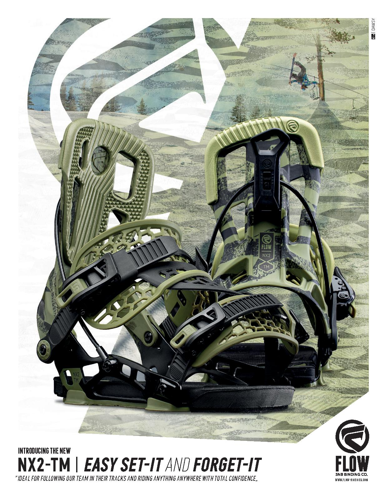 104 Flow snowboard bindings and snowboard boots