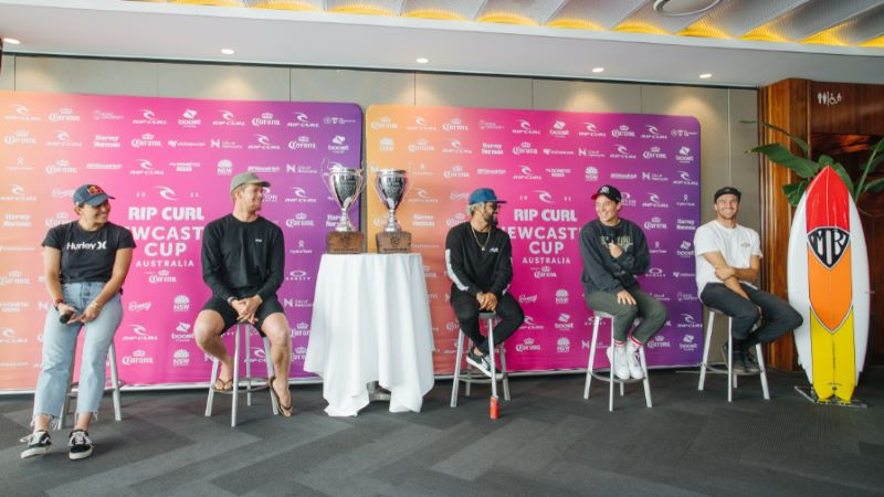 [From L_R] Carissa Moore, John John Florence, Italo Ferreira, Tyler Wright, and Ryan Collinnan at Newcastle Cup pres by Corona press conference_Credit WSL_Dunbar