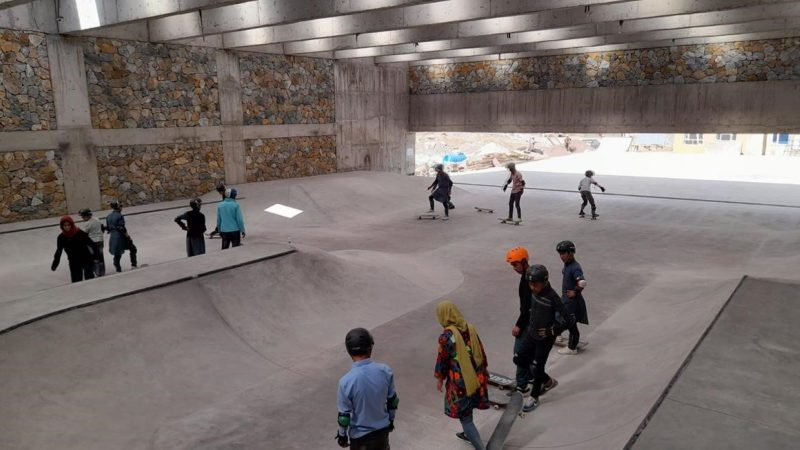 Skateistan students skate the park in Bamyan for the first time