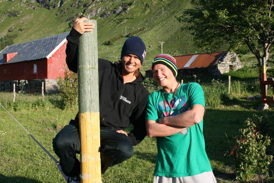 Truls & Jon on surf trip at Hoddevika, West Coast of Norway, 2009