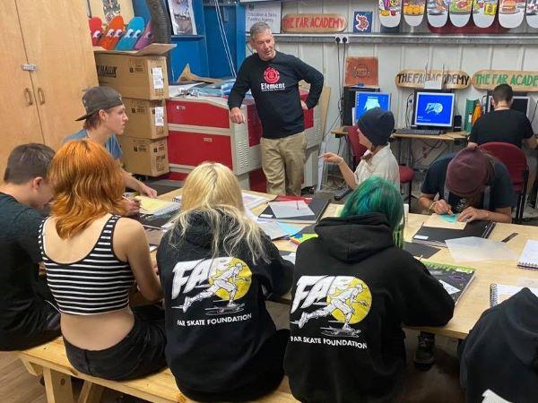 Martin teaching in class (FAR Skate)